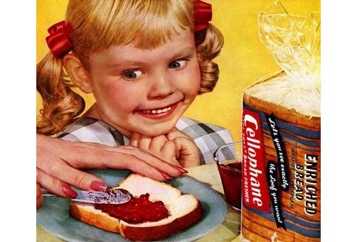 Creepy child in vintage ad