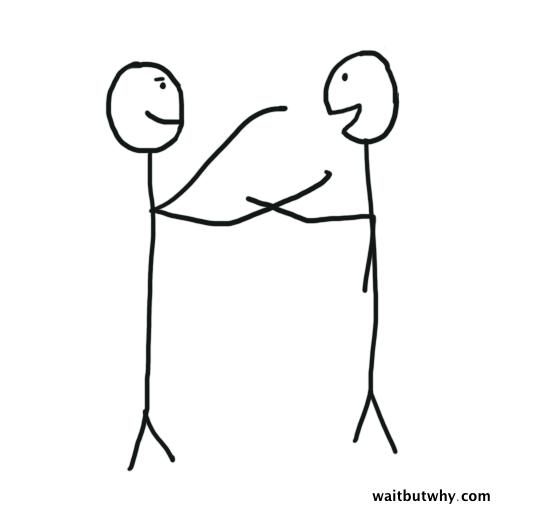 Handshake-Hug Mixup