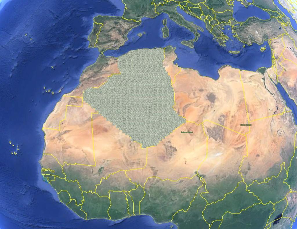 Algeria covered in $1 Bills