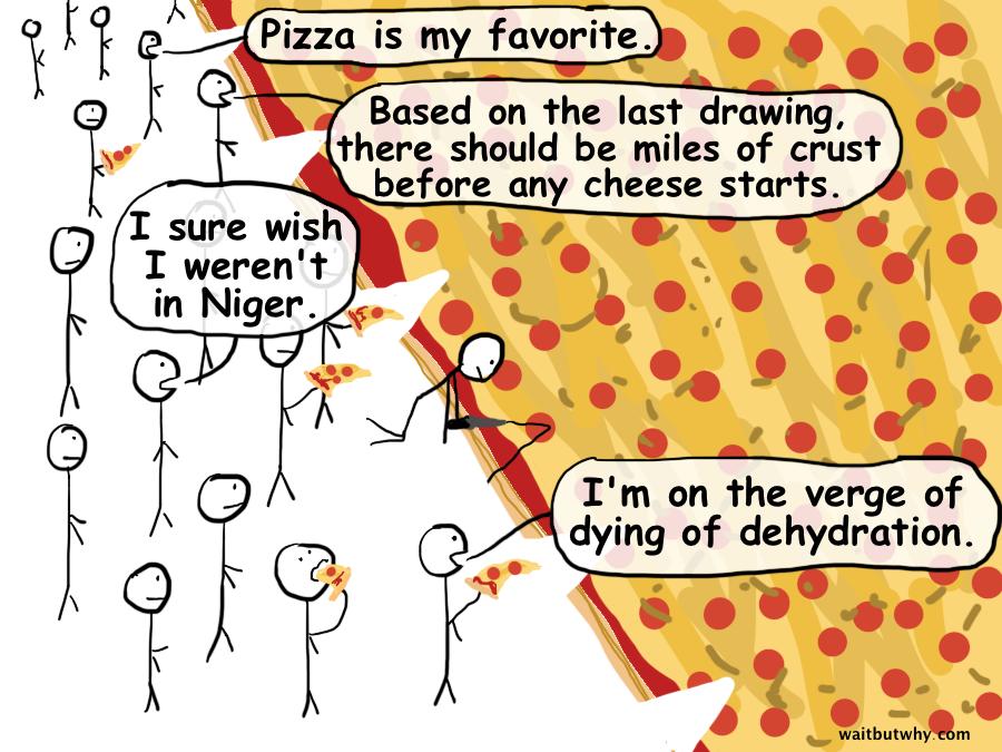 eating huge pizza