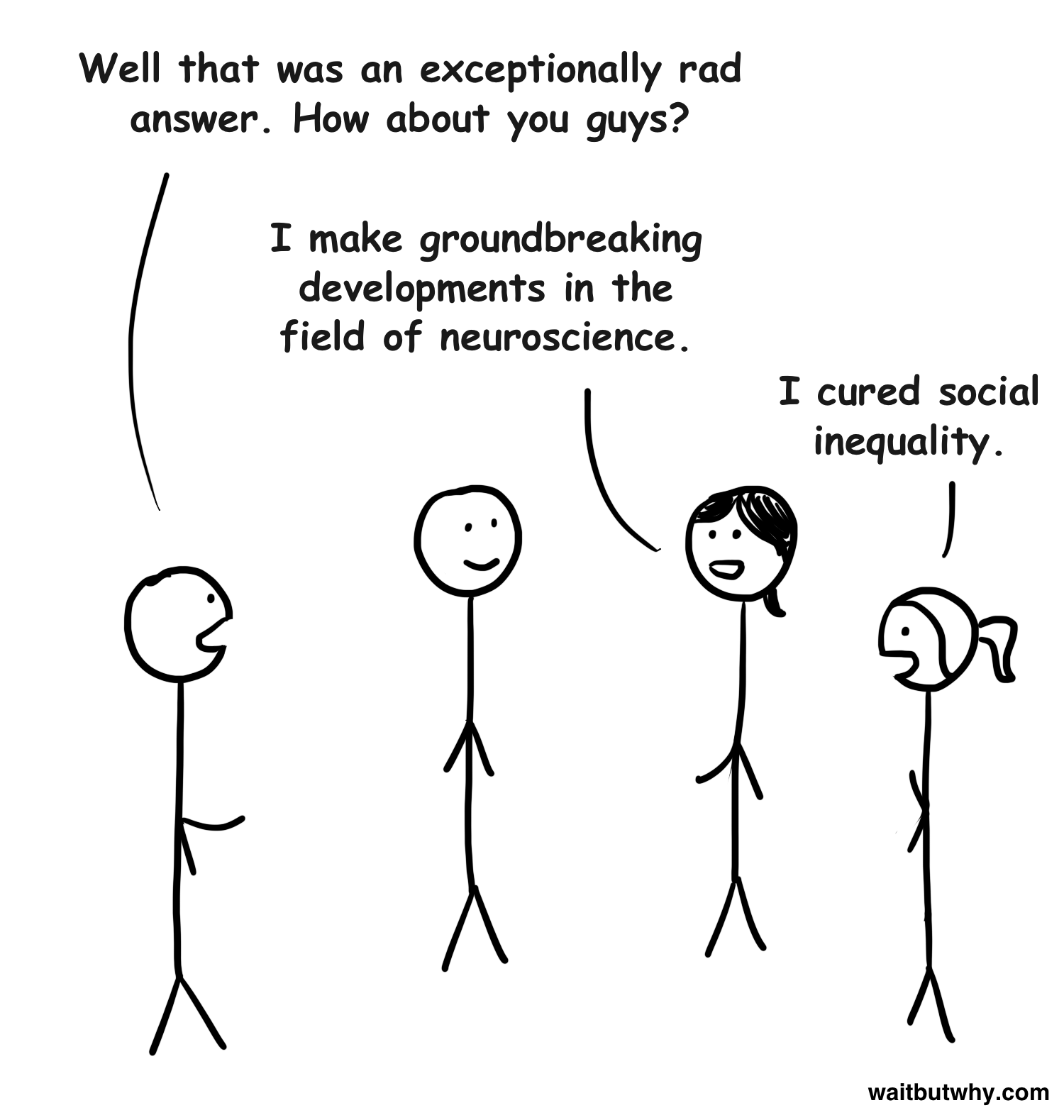 Tim: Well that was an exceptionally rad answer. How about you guys? Stick 2: I make groundbreaking developments in the field of neuroscience. Stick 3: I cured social inequality.