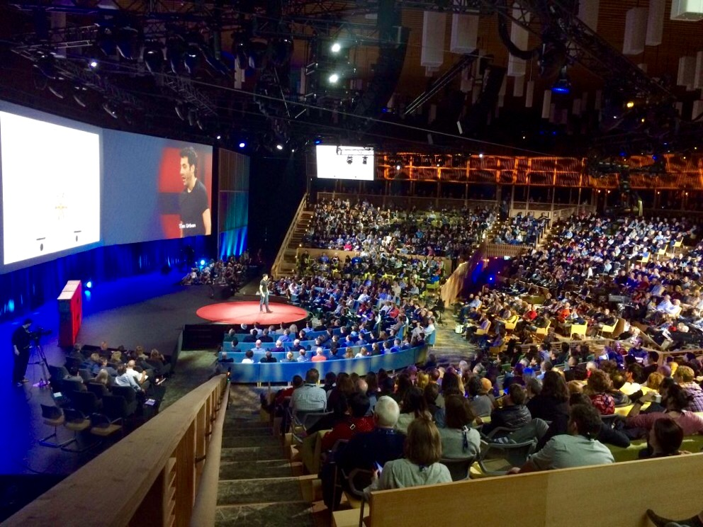 photo of Tim Urban on stage at TED2016