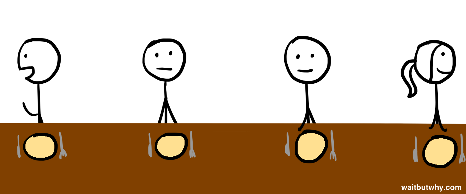 stick figures at dinner table