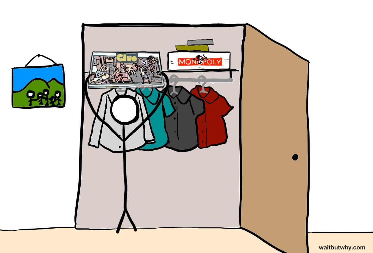 Stick figure putting Clue box back in the closet - clueyness