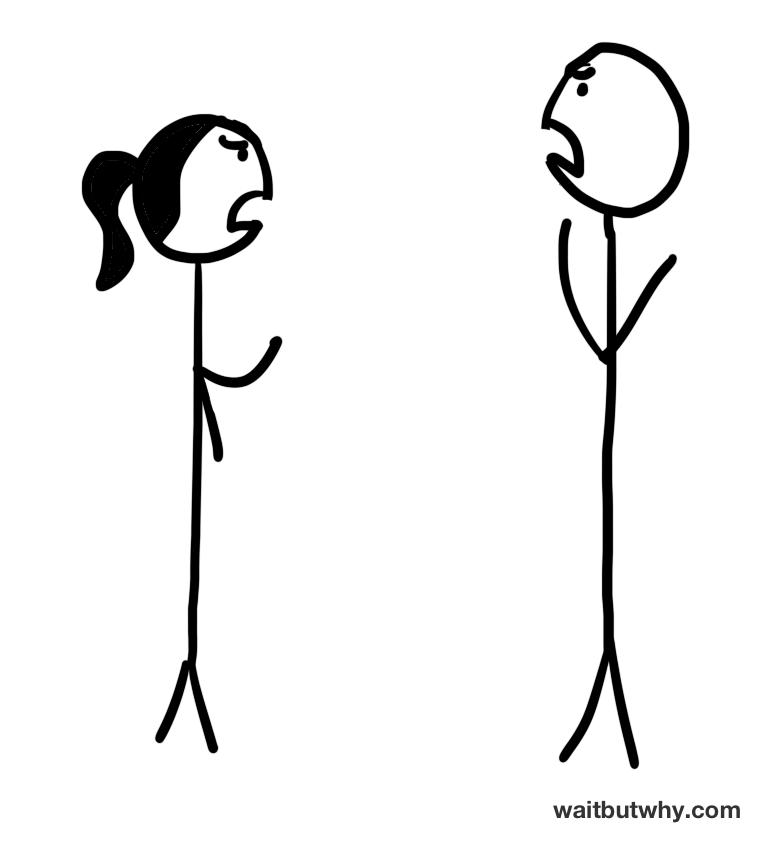 stick figure couple arguing with each other