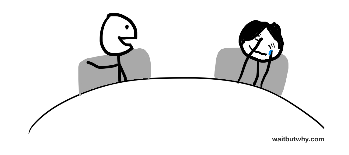 stick figure couple laughing together