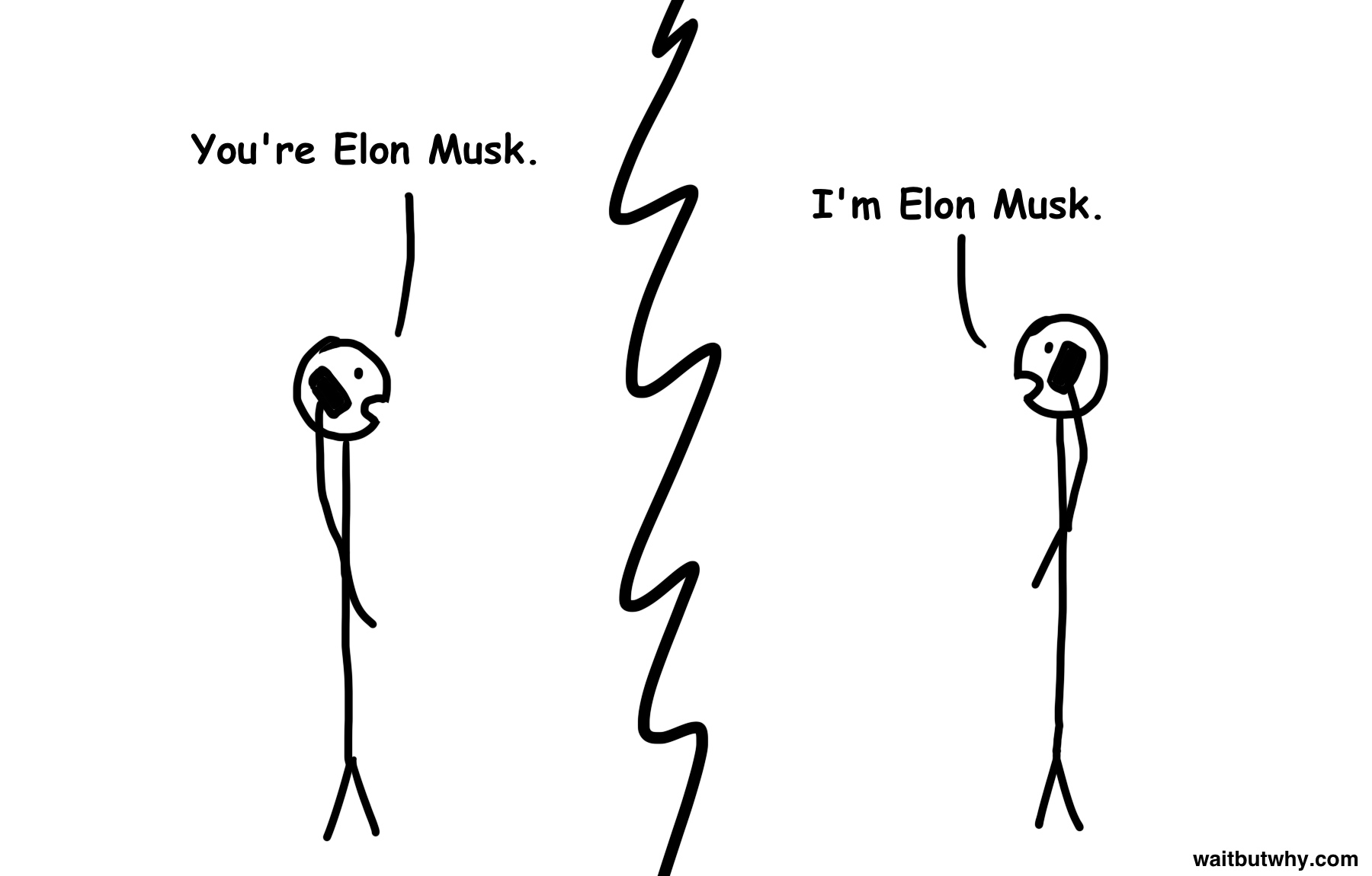 (on the phone) Tim: You're Elon Musk. Elon: I'm Elon Musk.