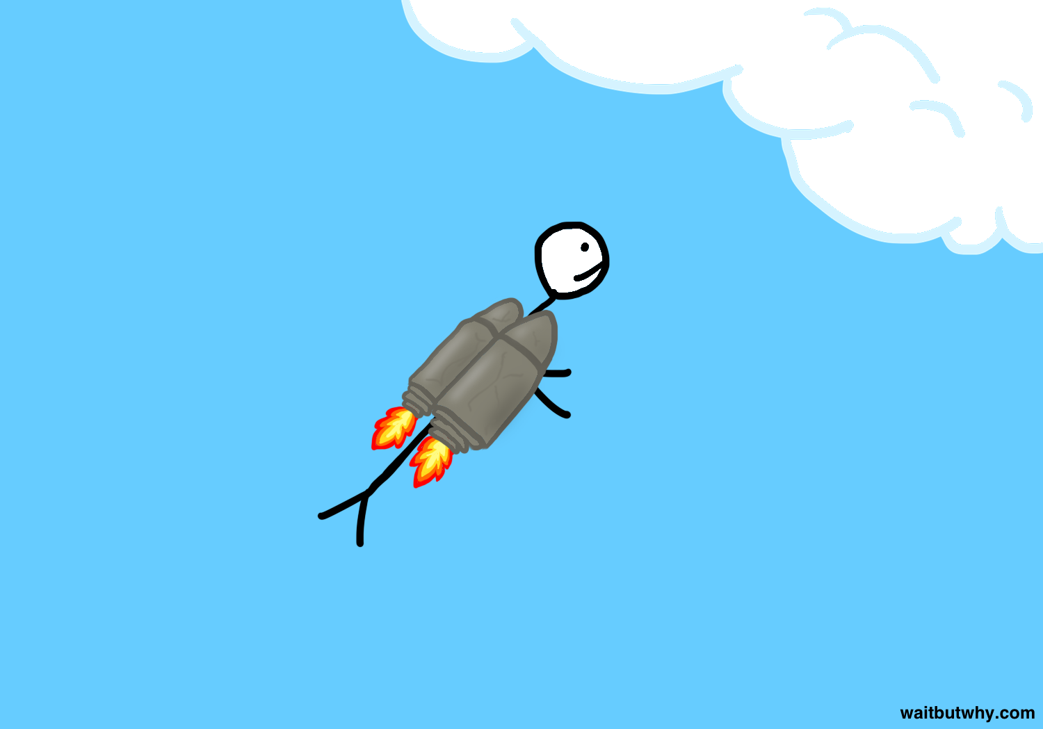 stick figuring rocketing through sky with jet pack made of clay