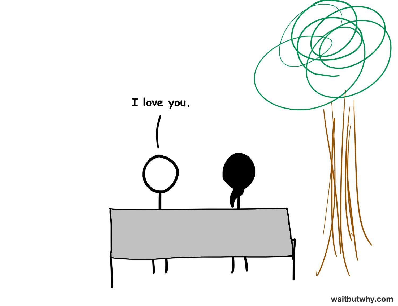 "stick figure couple on park bench. ""I love you"""
