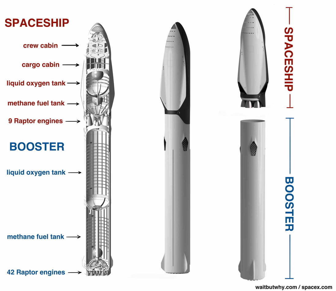 diagram of spacex mars rocket. spaceship: crew cabin, cargo cabin, liquid oxygen tank, methane fuel tank, 9 Raptor engines. booster: liquid oxygen tank, methane fuel tank, 42 Raptor engines