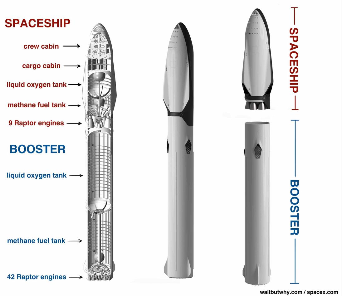 diagram of spacex mars rocket. spaceship: crew cabin, cargo cabin, liquid oxygen tank, methane fuel tank, 9 Raptor engines. booster: liquid oxygen tank, methane fuel tank, 42 Raptor engines