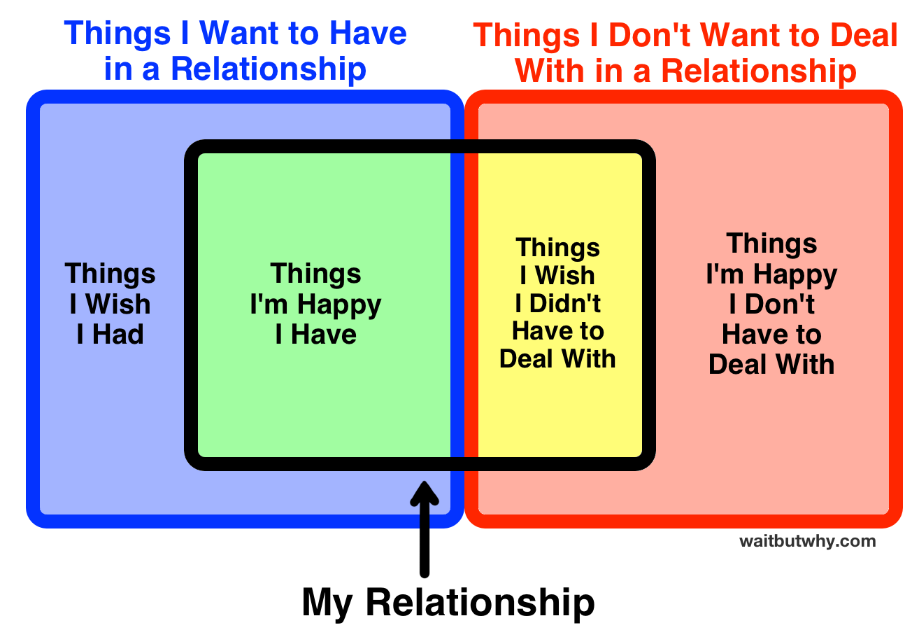 Venn: Things I Want to Have in a Relationship and Things I Don't Want to Deal With in a Relationship. (from left to right) blue: Things I Wish I Had, green: Things I'm Happy I Have, yellow: Things I Wish I Didn't Have to Deal With, red: Things I'm Happy I Don't Have to Deal With