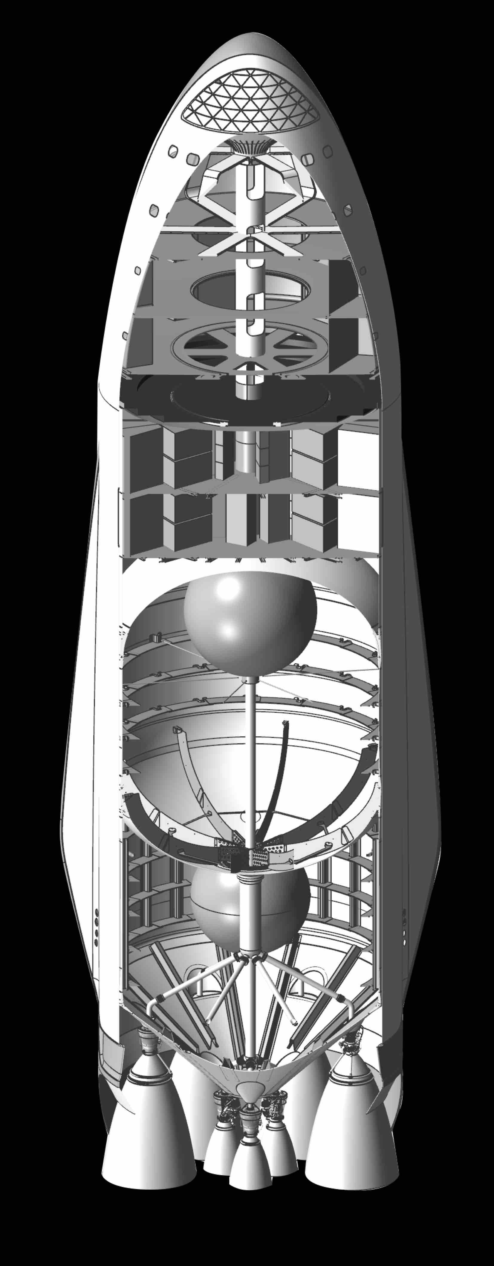 cross section of spacex mars spacecraft