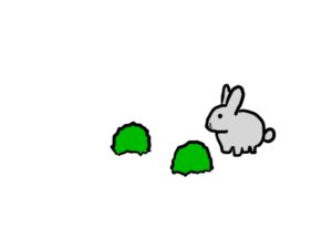A cute bunny and two shrubs.