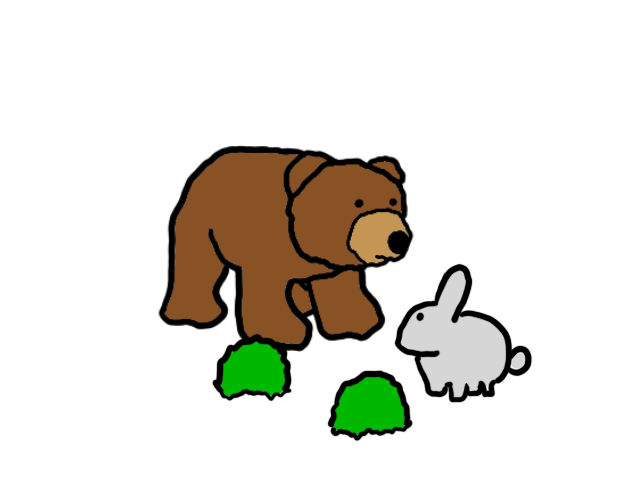 A bunny and two shrubs and a close bear that now has the bunny's attention.