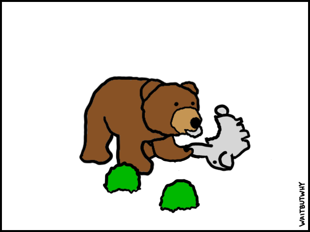 Two shrubs and a bear that has eaten the bunny's head off of its body.