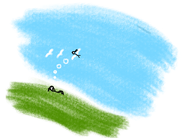 Girl laying in grass, staring up at the sky imagining herself flying