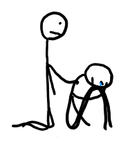 Stick figure consoling another stick figure