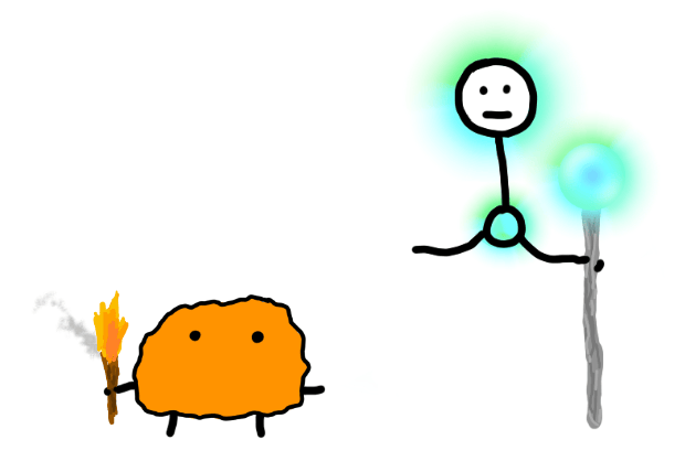 The Primitive Mind is the orange primitive blob holding the torch from earlier. The Higher Mind is a stick figure floating out of a glowing chest orb with arms, a glowing head, and a glowing light staff - all in a bright blue-green.