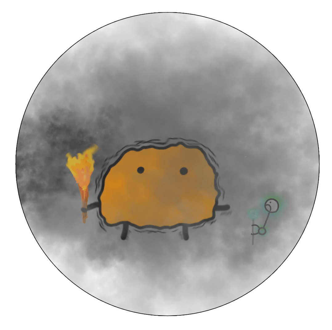 A circle filled with smoke, a big Primitive Mind, and a tiny cowering HM.