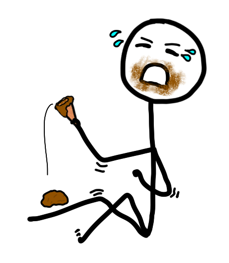 Giant stick figure throwing a giant tantrum because their chocolate ice cream fell on the ground.