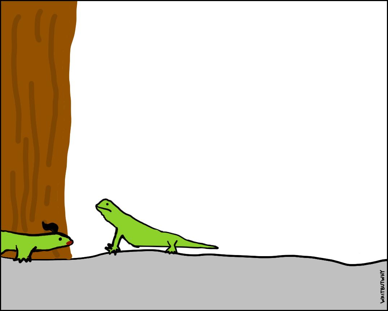Girl lizard enters the frame