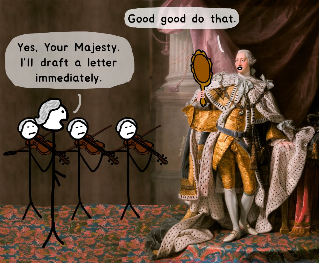 King: Good good do that. / Servant: Yes, Your Majesty. I'll draft a letter immediately.