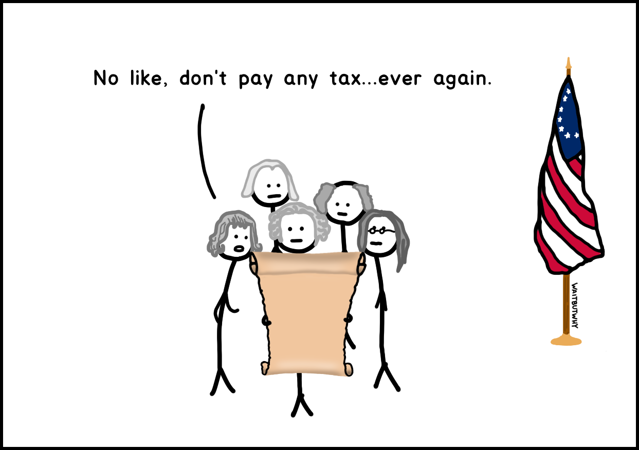 No like, don't pay any tax...ever again.