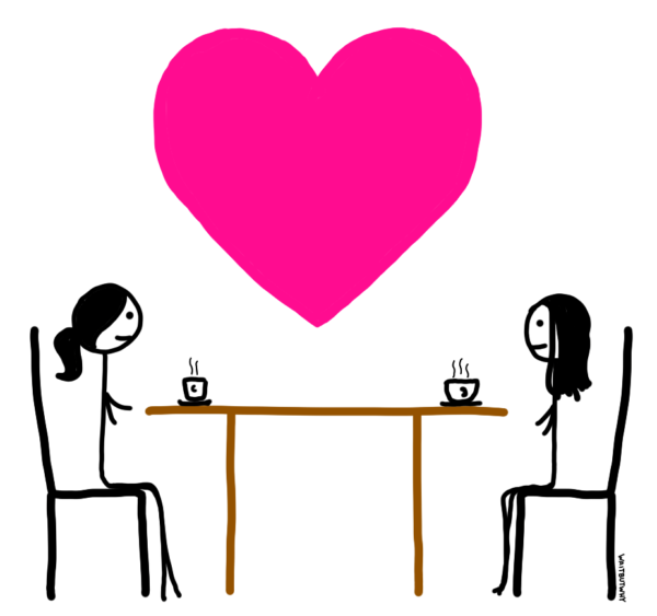 Tandice and Chloe smiling at each other across the table. A giant pink heart floats between them.