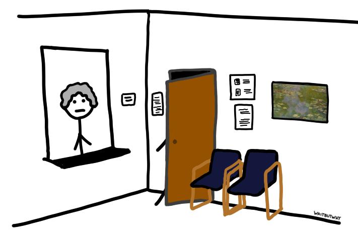 Waiting room with stick figure walking through door