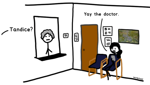 From off-panel: Tandice? Tandice: Yay the doctor.